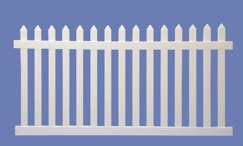 4 X 8 CONTEMPORARY STRAIGHT SECTION 7/8 X 3 PICKET SHARP-  WHT